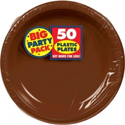 "Chocolate Brown Plastic 10-1/4"" Plates - 50ct 