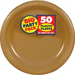 "Gold Plastic 10-1/4"" Plates - 50ct 