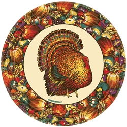 "Autumn Turkey Round 7"" Paper Plates 