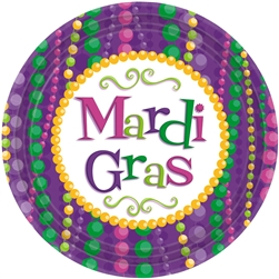 Mardi Gras Celebration Round Plates, 7"