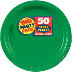 "Festive Green 9"" Paper Plates - 50ct 