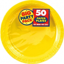 "Yellow Sunshine 9"" Paper Plates - 50ct 