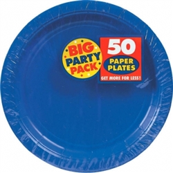 "Bright Royal Blue Big Party Pack 9"" Paper Plates 