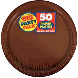 "Chocolate Brown Paper 9"" Plates - 50ct. 