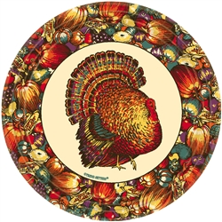 "Autumn Turkey Round 9"" Paper Plates 