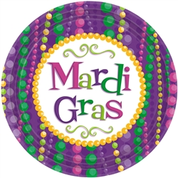 Mardi Gras Celebration Round Plates, 9"