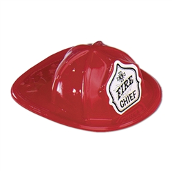 Packaged Miniature Red Plastic Fire Chief Hats