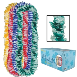 Floral-Color Aloha Poly Leis w/Printed Retail Carton | Party Supplies