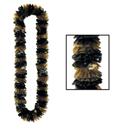 Soft-Twist Black & Gold Poly Leis
