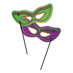 Plastic Mardi Gras Masks w/Dowel | Party Supplies