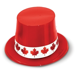 Red Plastic Topper with Maple Leaf Band | Party Supplies