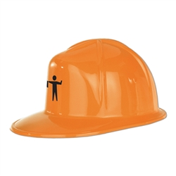 Printed Orange Plastic Construction Helmet
