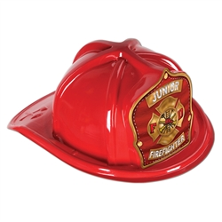Red Plastic Jr Firefighter Hat | Party Supplies