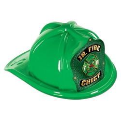 Green Plastic Jr Fire Chief Hat | Party Supplies