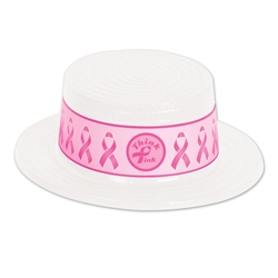 White Plastic Skimmer with Pink Ribbon Band
