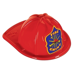 Red Plastic Fire Chief Hat | Party Supplies