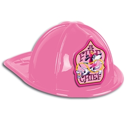 Pink Plastic Fire Chief Hat