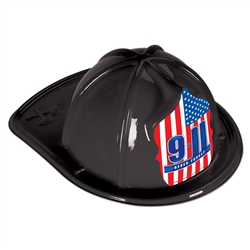 Black Plastic Fire Chief Hat | Party Supplies