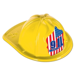 Yellow Plastic Fire Chief Hat | Party Supplies