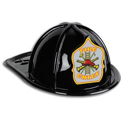 Black Plastic Fire Chief Hat