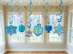Hanukkah Icon Hanging Foil Swirl Decorations | Party Supplies