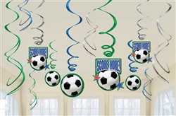 Soccer Fan Foil Swirl Decorations | Party Supplies
