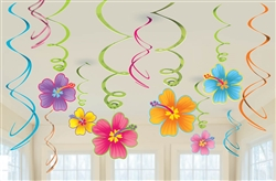 Luau Value Pack Foil Swirl Decorations | Luau Party Supplies