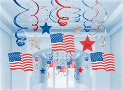 Patriotic Mega Value Pack Foil Swirl Decorations | Party Supplies