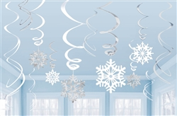 Snowflake VP Foil Swirl Decorations | Party Supplies
