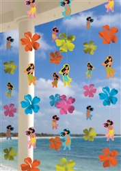 Hula Girl Printed Paper & Foil String Decoration | Luau Party Supplies