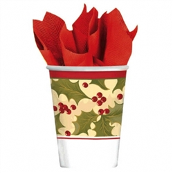 Winter Holly 9oz Paper Cups | Party Supplies