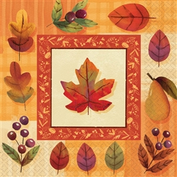 Watercolor Leaves Beverage Napkins | Party Supplies