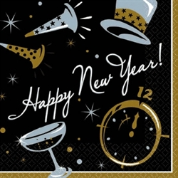 Black Tie Affair Beverage Napkins | New Year's Eve Tableware