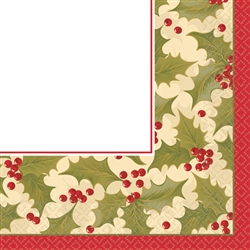 Winter Holly Beverage Napkins | Party Supplies