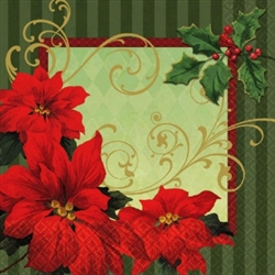 Vintage Poinsettia Luncheon Napkins | Party Supplies