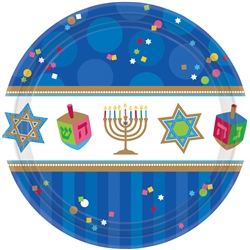 "Hanukkah Celebrations 10-1/2"" Round Paper Plates 