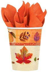 Watercolor Leaves 9 oz. Cups | Party Supplies