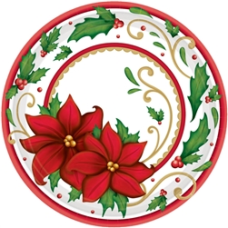 "Winter Botanical 7"" Round Paper Plates 