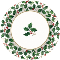 "Seasonal Holly 8-1/2"" Round Paper Plates 