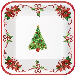 "Traditional Christmas 7"" Square Paper Plates 