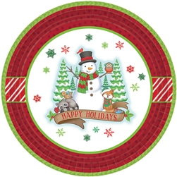 "Winter Friends 7"" Round Paper Plates 