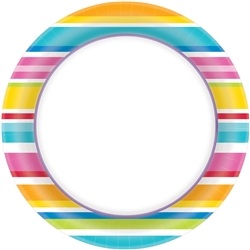 "Multi Stripe Border 8-1/2"" Plates 