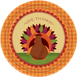 "Turkey Dinner Round 7"" Paper Plates 