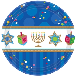 "Hanukkah Celebrations 7"" Round Paper Plates 