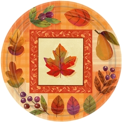 "Watercolor Leaves Round 7"" Plates 