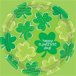 "Playful Shamrocks 7"" Round Plates 