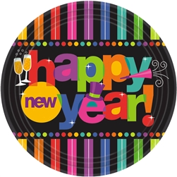 Bright New Year Round Plates | New Year's Eve Tableware