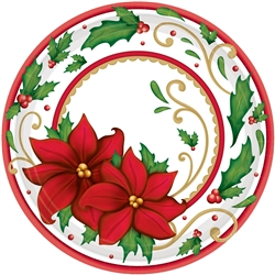 "Winter Botanical 9"" Round Paper Plates 