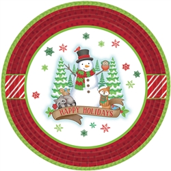 "Winter Friends 9"" Round Paper Plates 