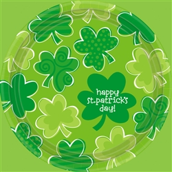 "Playful Shamrocks 9"" Round Plates 